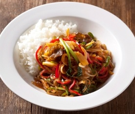 Japchaebop - Stir-Fried Vermicelli Noodles With Vegetables And Rice - 잡채밥